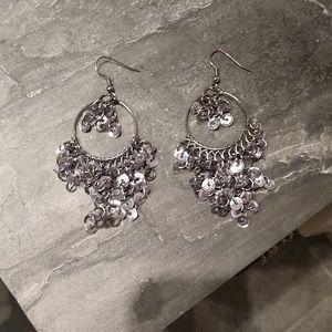 Lovely silver and gun metal cascading earrings.